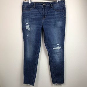 High rise skinny jeans distressed 18/34 blue jean